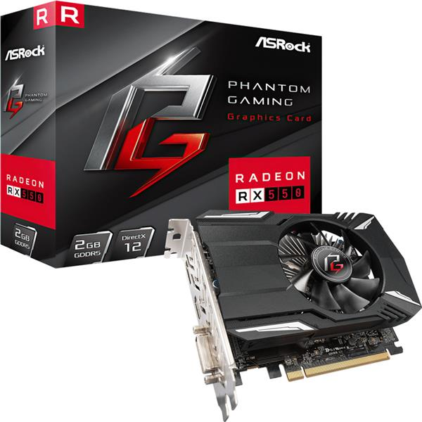 Placa de Video Asrock AMD Radeon Rx 550 PHANTOM GAMING 2GB GDDR5