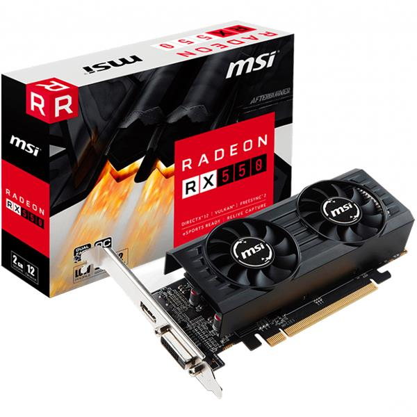 Placa de Video MSI Radeon RX 550 2GT LP OC 2GB GDDR5